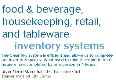 food & beverage, housekeeping, retail, and tableware inventory systems